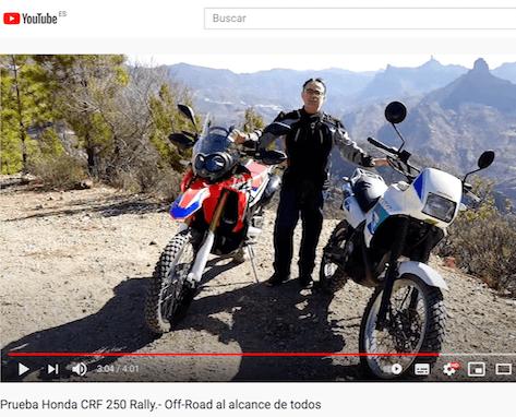 captura de pantalla de video prueba moto en youtube